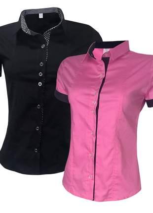 Camisa social feminina kit 2 un preto rosa