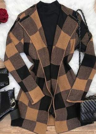 Kimono xadrez cardigan trico feminino longo inverno moda feminina kimono quentinho