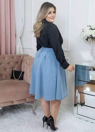 Saia feminina jeans midi  evangelica ziper jeans escuro