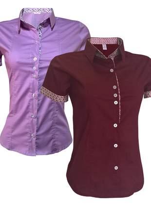 Camisa social feminina kit 2 un lilás bordô