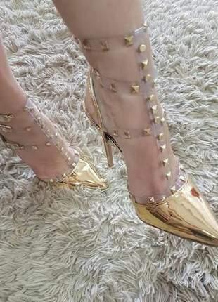 Sapatos femininos scarpins transparência com spikes