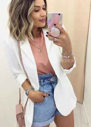 Casaco blazer max neoprene corte a laser moda feminina