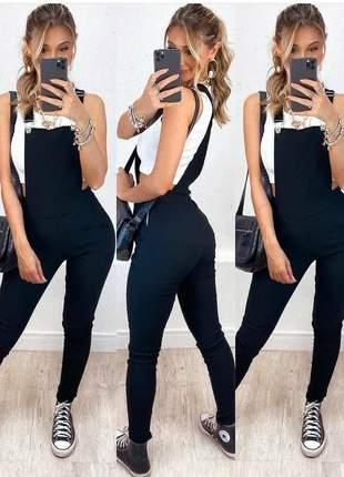 Jardineira macacão longa com bolso no peito moda feminina