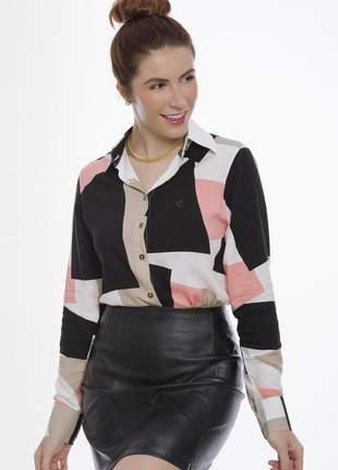Camisa feminina olimpo viscose manga longa preta/bege/rosa