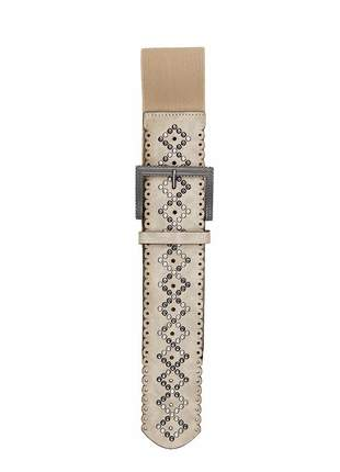 Cinto feminino metal couro elástico largo tendência ref394 (bege)