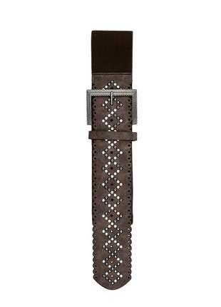 Cinto feminino metal couro elástico largo tendência ref394 (marrom-café)
