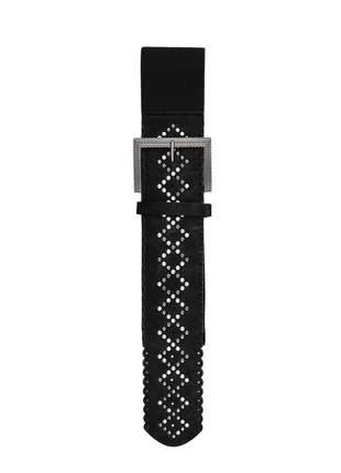 Cinto feminino metal couro elástico largo tendência ref394 (preto)
