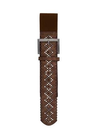 Cinto feminino metal couro elástico largo tendência ref394 (marrom-escuro)