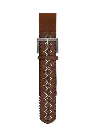Cinto feminino metal couro elástico largo tendência ref394 (chocolate)