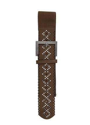 Cinto feminino metal couro elástico largo tendência ref394 (marrom)