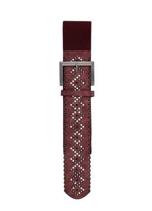 Cinto feminino metal couro elástico largo tendência ref394 (vinho)