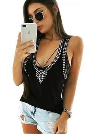 Blusa blusinha regata pedraria com aplicações moda feminina