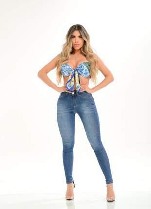 Calça jeans feminina clara delavê cintura alta modeladora destmoda