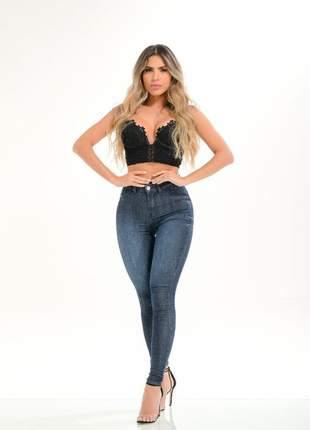Calça jeans feminina azul básica com lycra super destmoda
