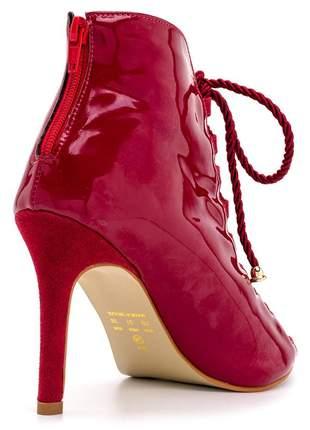 Ankle boot bico aberto salto auto feminino conforto ref 6006