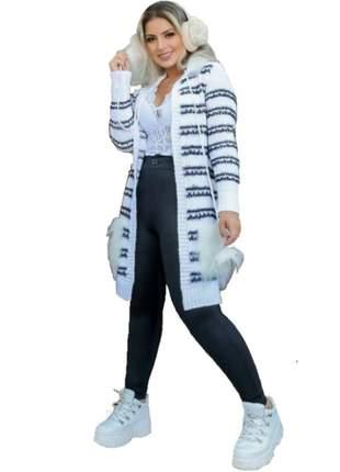 Kimono tricô feminino capuz pelinhos bolso pompom ktf-001