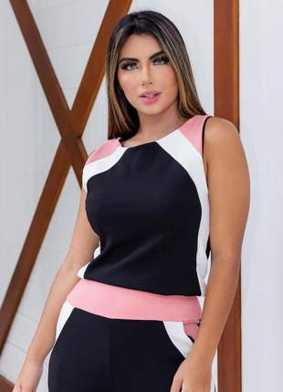 Conjunto feminino de blusa e calça de malha crepe