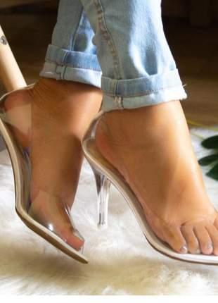 Sandália feminina branco salto cristal transparente vinil