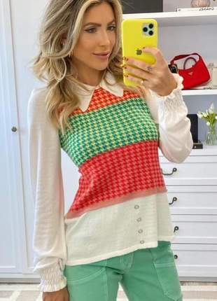 Blusa de  modal pied poule colorido
