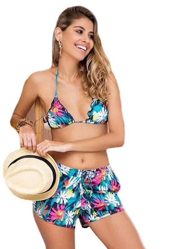 be6f6ac28 Kit praia top + calcinha + short - biquini short com bolso e top bojo  removível1 ...