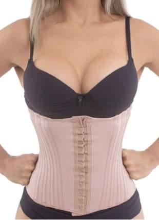 Cinta modeladora abdominal emborrachada 16 barbatanas bege pp ao gg