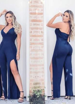 Macacão luxo fenda moda blogueira