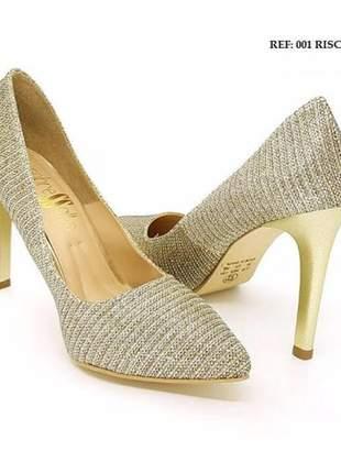 Sapato scarpin feminino  riscado ouro