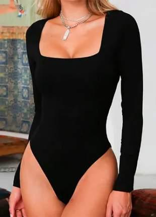 Body manga longa decote quadrado