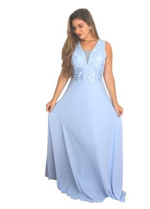 Vestido de festa azul serenity longo madrinha casamento noiva aniver bodas pronta entrega