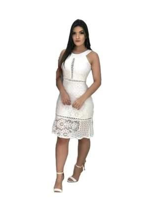 Vestido médio de renda festa casamento civil moda evangelica