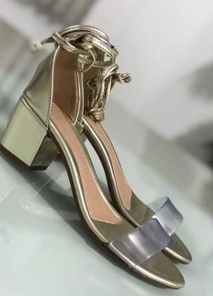 Sandalia feminina vinil dourada