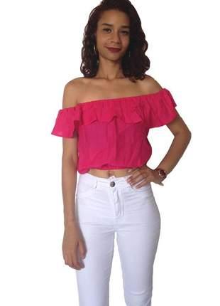 Top cropped ombro a ombro - rosa