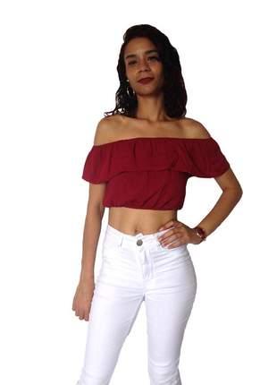 Top cropped ombro a ombro - vinho