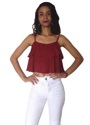 d546a01025 Top cropped sutiã com bojo blusa regatinha renda - R  37.60 (regata ...