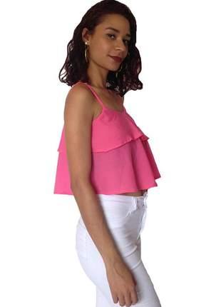 Blusa feminina cropped ciganinha - rosa