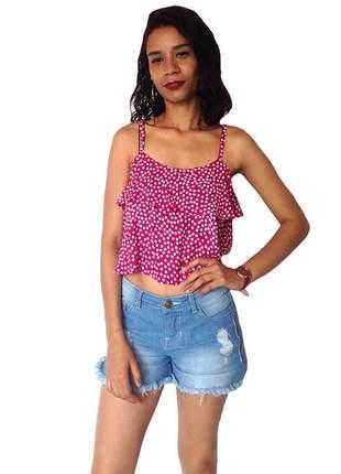 Blusa top cropped bolinhas rosa