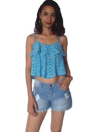 Blusa feminina cropped estampa poa azul