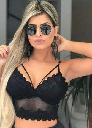 Óculos de sol feminino round preto black