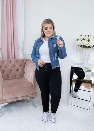 Jaqueta jeans feminina curta destroyed azul
