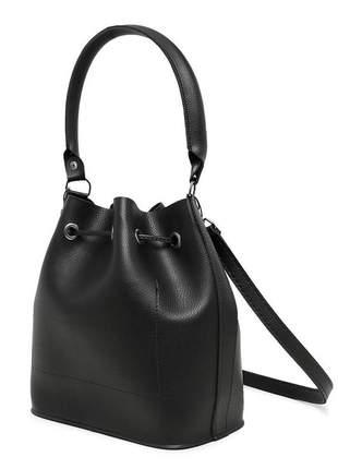Bolsa preta feminina saco transversal cordão ajustável - vegatta jade