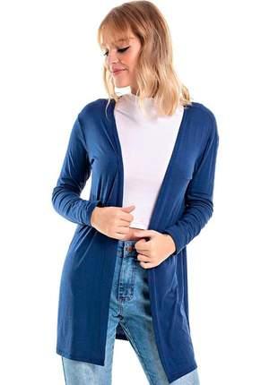 Kimono/ cardigan alongado em viscolycra azul marinho