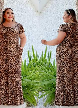 Vestido longo plus size  babado na barra moda