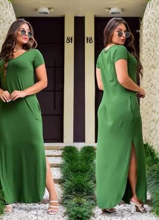 Vestido longo manguinha arredondada  fenda primavera verão