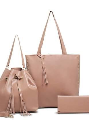 Kit de bolsa sacola grande + saco com carteira feminina