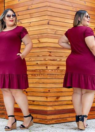 Vestido   plus size curto babado bolso  moda   lançamento