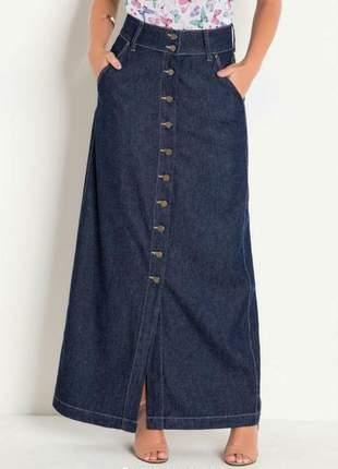Saia longa jeans escuro botões frontais - moda evangélica de