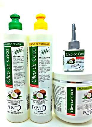 Kit óleo de coco fiovit shampoo enxaguante reparador e mousse nutritivo