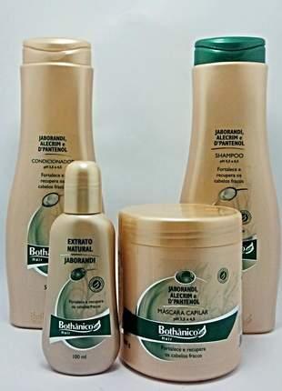 Bothanico hair jaborandi completo shampoo cond e mascara 3 x 500ml + extrato