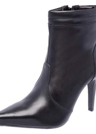 Bota pierrô social conforto cano baixo e salto alto couro legítimo cor preto