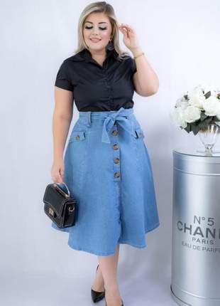 Saia jeans midi rodada evangélica| moda evangélica | moda feminina | moda secretária